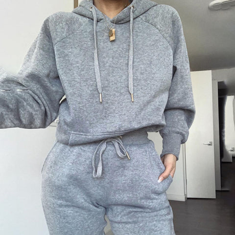 Women's fashion pure color hooded suit