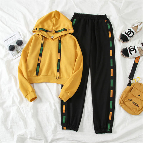 Casual Basic Loose Hooded Top Pants Two Piece Set