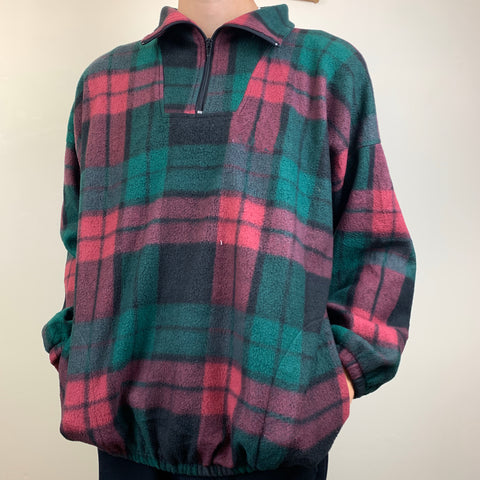 Casual vintage checked fleece sweatshirt