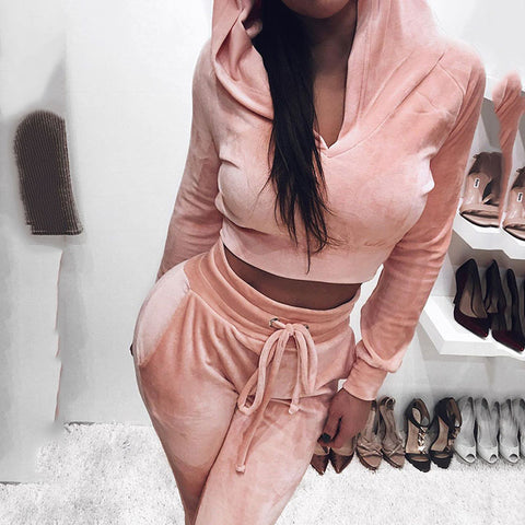 Casual fashion sports hooded women's suit