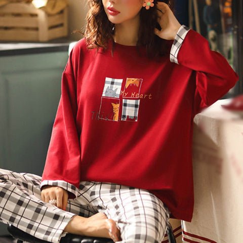 Indoor round neck print plaid loose two-piece pajamas