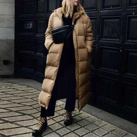 Fashion solid color hooded long down jacket