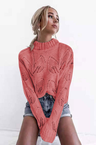 Casual Cutout Long Sleeve Turtleneck Sweater