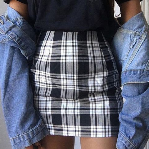 Ladies Fashion Check Hip Skirt