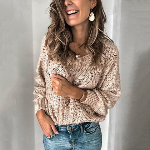 Pure Color Hollowed Out Knitted Sweater