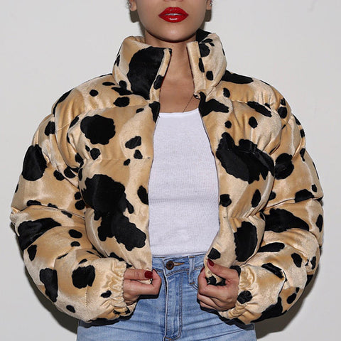 Womens Fashion Printed Colour Long Sleeve Down Jacket