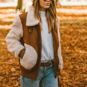 Color Matching Warm Women's Teddy Jacket