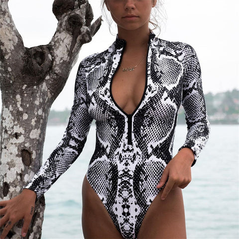 Leopard One Piece Bikini Long Sleeve Swimsuit