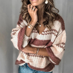 Casual Stripe Long Sleeve Loose Knit Sweater