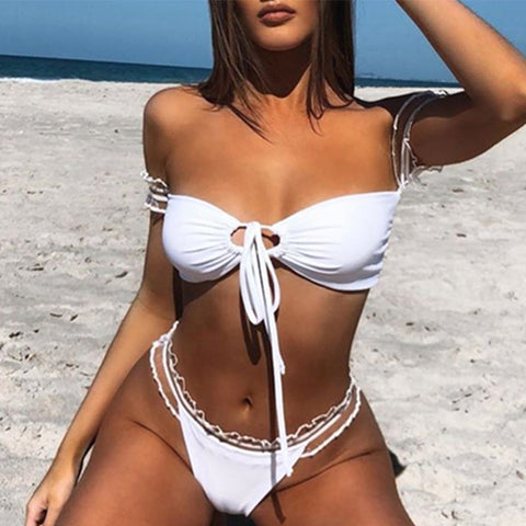Sexy white lace bikini split swimsuit