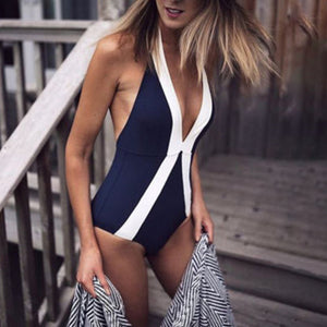 Cyan High Waist Sexy Backless Slim Thin Triangular One Piece Swimsuit