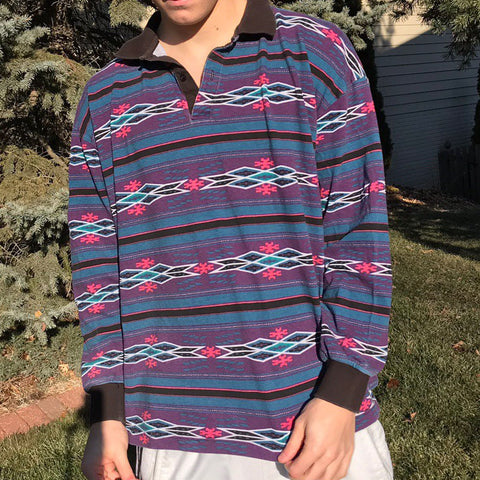 Men's Casual Retro Striped Print Sweatshirt
