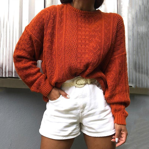 Basic Round Neck Pure Color Sweater