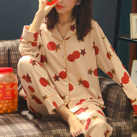 Fashion leisure printing shirt trousers home clothing suit