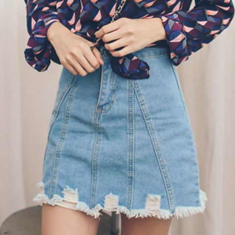 Ladies Fashion Solid Color Denim Skirt
