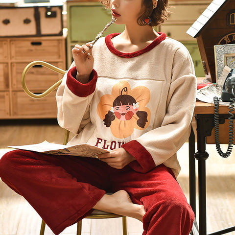 Winter leisure womens print thickened warm pajamas sets