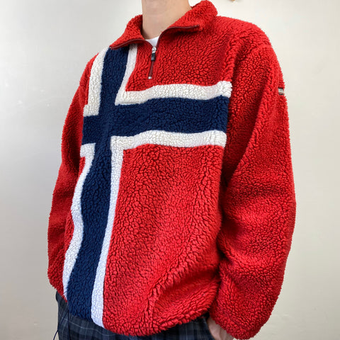 Men's Casual retro fleece sweatshirt