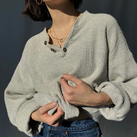 Casual V-neck button grey loose sweater