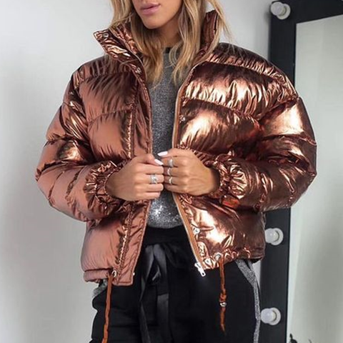 Fashion patent leather long sleeve short down jacket
