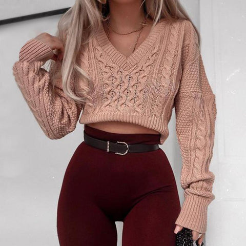 Fashion V-Collar Exposed Navel Knitted Sweater
