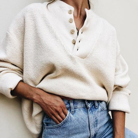 Womens Causal Solid Colour Loose Sweater