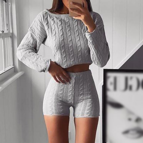 Casual round collar long sleeve plain knit suit