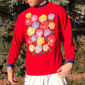 Men's casual vintage flower pattern crew neck sweatshirt