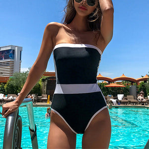 Sexy Colouring Strapless One-piece Swimsuit