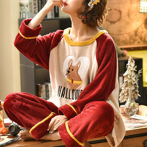 Winter leisure spell color thickened warm pajamas sets