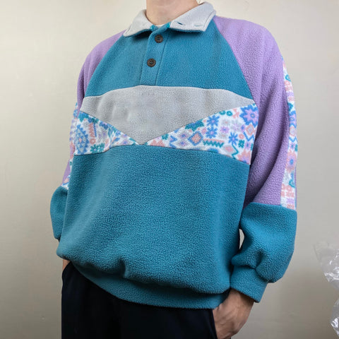 Men's Casual vintage printed stand collar sweatshirt