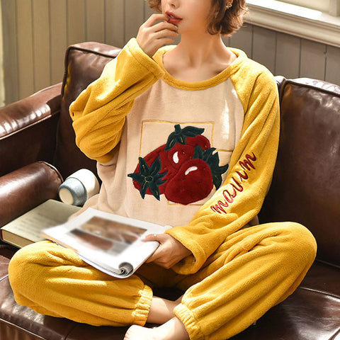 Women's Sweet Cartoon Home Thick Coral Fleece Sets