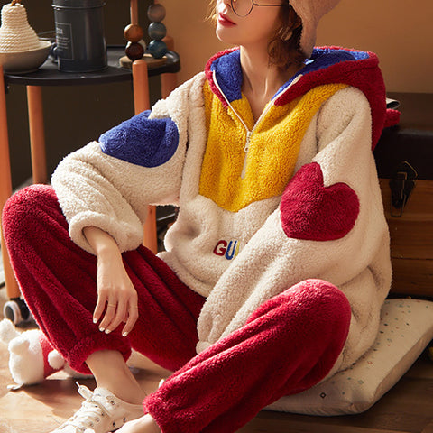 Winter leisure thickened warm hooded pajamas sets