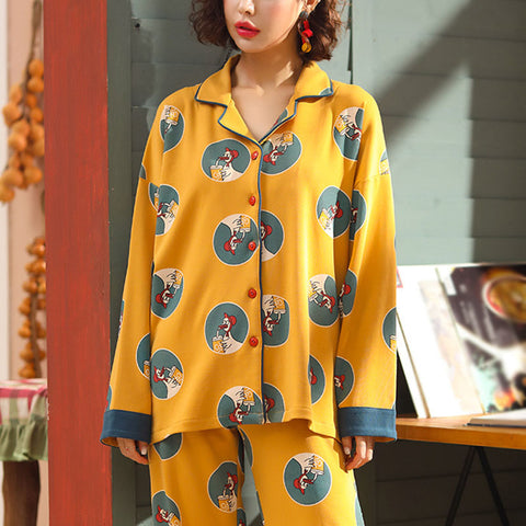 Women's Fashion Long Sleeve Turndown Collarl Korean Cartoon Cotton Suit