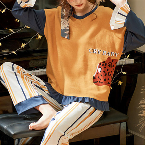 Casual Printed Long Sleeve Pajamas Sets