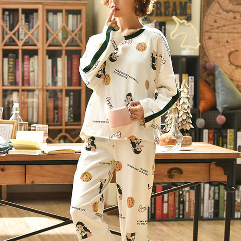 Women Brief Casual Printed Round Neck Pajama Set