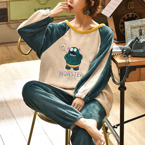 Winter leisure round collar thickened warm pajamas sets