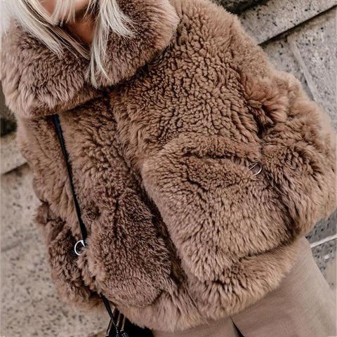 Women's fashion solid color lapel thick Teddy coat