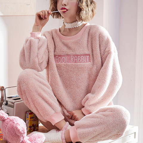 Winter leisure long sleeve thickened warm hooded pajamas sets