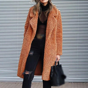 Classic Solid Color Fold-over Collar Long-sleeved Teddy Coat