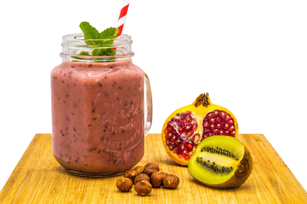 A refreshingly sweet and tasty smoothie with hazelnuts, mangoes and blackberries – so perfect for a quick breakfast or a hot summer afternoon treat!  Hazelnuts, high in protein and kiwi, rich in essential vitamins and minerals, will provide a positive energy boost.  Juicy pomegranate and papaya offer a variety of nutrients to enhance and maintain good skin, hair and dental health.