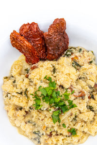 Cauliflower rice is a wonderful low-carb, grain-free, paleo-friendly rice alternative.  The intense flavours of luscious sun-dried tomatoes and rich green basil make this dish both delicious and healthy.  We keep the recipe very natural with its fine, light and fluffy texture that will delight.