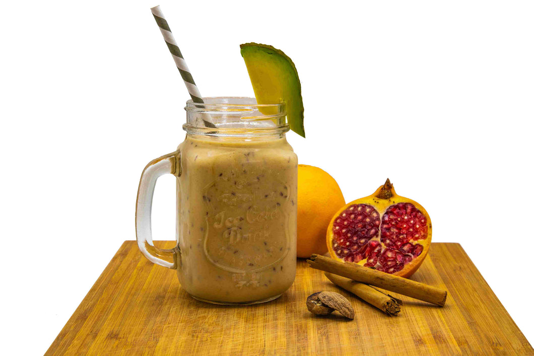 This pumpkin smoothie is loaded not only with lots of fibre from avocado and pomegranate but is also enriched with natural sweetness and the healthy antibacterial properties derived from honey.  With a combination of cinnamon, nutmeg and maca root, this smoothie is like savouring a slice of pumpkin pie with none of the guilt!