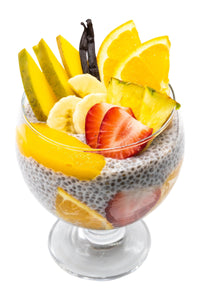 Vanilla chia pudding with mango, banana, orange, pineapple and strawberries for a mix of vibrant flavours.  Not only do these fruits complement each other, but more importantly they pack a nutrient punch of vitamins, calcium, potassium and manganese for your good health.