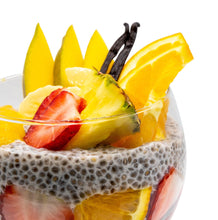 Cargar imagen en el visor de la galería, Vanilla chia pudding with mango, banana, orange, pineapple and strawberries for a mix of vibrant flavours.  Not only do these fruits complement each other, but more importantly they pack a nutrient punch of vitamins, calcium, potassium and manganese for your good health.