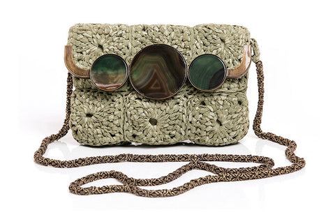 FLORIPA MOON CROCHET PURSE - Plant Green