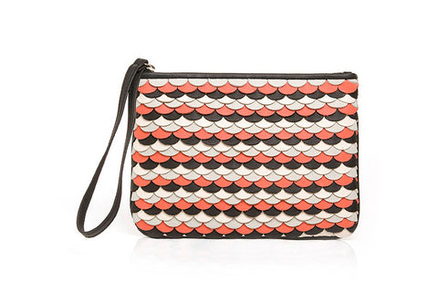 MAROLA CLUTCH in ONDAS WEAVE - Guava/Grey/Atanado