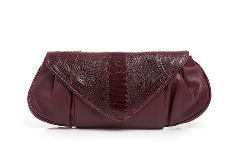 OSTRICH LEG CANELA CLUTCH - Sunset Wine
