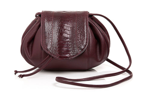 OSTRICH LEG LEBLON SHOULDER BAG - Sunset Wine