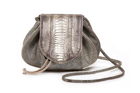 OSTRICH LEG LEBLON SHOULDER BAG - Metallic Champs