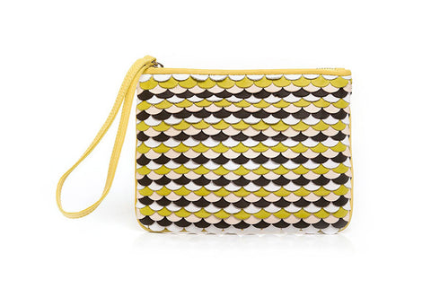 MAROLA CLUTCH in ONDAS WEAVE - Yellow/White/Atanado